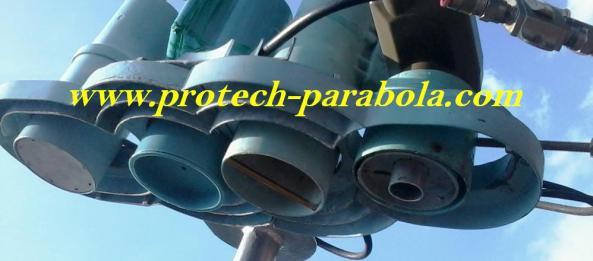 Susunan 4 LNB pada Parabola Mesh 10 Feet PALAPA D - TELKOM 1 - YAMAL 202 - LNB KU Band MODIF PRIME FOKUS